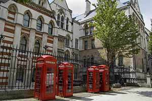 Phone boxes behind The Royal Courts of Justice